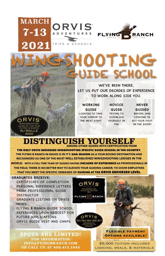 2021 Wingshooting guide school